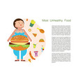 most unhealthy food idea and diet tips vector image vector image