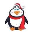 New Years cheerful cute penguin in winter red hat vector image