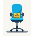 Office workplace chair with quote on paper vector image