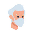 old man head with face mask vector image vector image