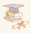 pile stack diploma graduation academic cap books vector image