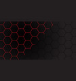 red line hexagon on dark grey mesh pattern vector image