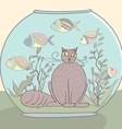 sad cat imside aquarium with fishes cartoon style vector image