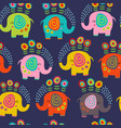 seamless pattern with floral elephants vector image vector image