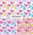 seamless patterns with sneakers set vector image vector image