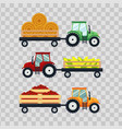 set flat tractors with a cart corn hay tomato on vector image