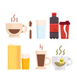 set icons various drinks proper vector image vector image