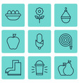 set of 9 agriculture icons includes fire tube vector image vector image