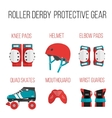 set of flat roller derby protective gear vector image vector image