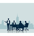 Silhouette Business meeting with city background vector image