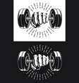 silhouette punch holding gym fitness dumbbells vector image