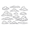 sketch clouds hand drawn sky cloudscape outline vector image