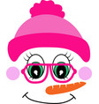 snowman girl face icon cute girl in pink vector image vector image