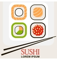 sushi roll with chopsticks vector image vector image