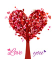 Tree in the shape of heart isolated on white vector image vector image