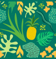 tropical flowers and leaves pattern pineapples vector image vector image