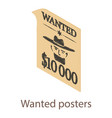 wanted posters icon isometric 3d style vector image vector image