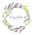 watercolor greenery wreath purple and green tints vector image vector image