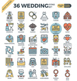 Wedding Love outline color icons vector image vector image