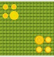yellow dandelions on a green background cell vector image