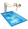 girl diving down the swimming pool vector image