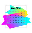 2020 calendar design abstract concept may 2020 vector image vector image