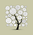 Abstract circles tree sketch for your design