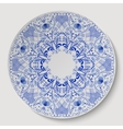 Blue round floral ornament applied to the ceramic vector image vector image