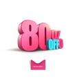 bright pink voluminous 3d inscription 80 off vector image vector image