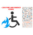 burn patient icon with bonus fire collection vector image vector image