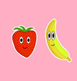 cartoon banana and strawberry on a pink background vector image vector image