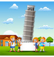 cartoon kids bring a whiteboard in front of pisa t vector image
