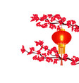 chinese new year two branches of a blooming red vector image vector image