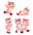 collection children wearing pig animal costumes vector image