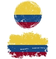 Colombian round and square grunge flags vector image vector image