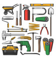 construction and repair work tools equipment vector image vector image