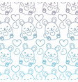 degraded outline cute female mouse and heart vector image