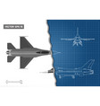 drawing military aircraft industrial blueprint vector image vector image