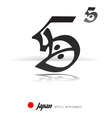 English alphabet in Japanese style - S - vector image vector image