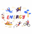 extreme sports people characters set kayaking vector image vector image