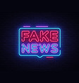 fake news neon sign breaking news design vector image