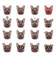 french bulldog dog emoji emoticon expression vector image vector image