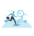 get on time in office concept vector image vector image
