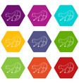 going forward monkey icons set 9 vector image vector image