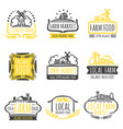 hand drawn farm market organic food labels set vector image vector image