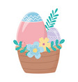 happy easter day basket with eggs flowers leaves vector image vector image