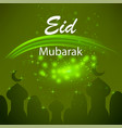 happy eid mubarak islamic design on green starry vector image