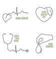 heart health icons set vector image vector image