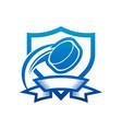 ice hockey puck shield badge icon vector image vector image