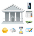 isolated object of bank and money sign collection vector image vector image